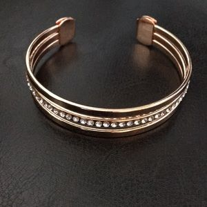 Badgley Mischka Rose Gold Pave Crystals Open Cuff
